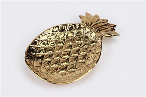 Gold Pineapple + Leaf Ceramic Dish