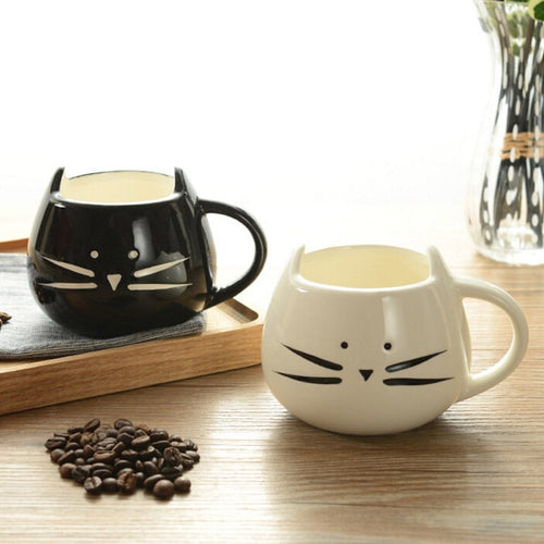 Black + White Cat Mug