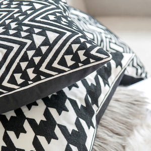 "Black + White Canvas 18"" Square Pillow Cover"