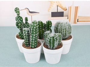 Faux Potted Cactus Plant