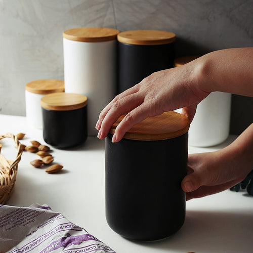 Ceramic Storage Jar with Wooden Lid
