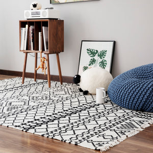 Geometric Black + White Wool Handwoven Rug