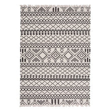 Load image into Gallery viewer, Geometric Black + White Wool Handwoven Rug