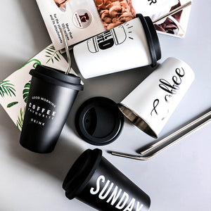 Black + White Stainless Steel Mugs