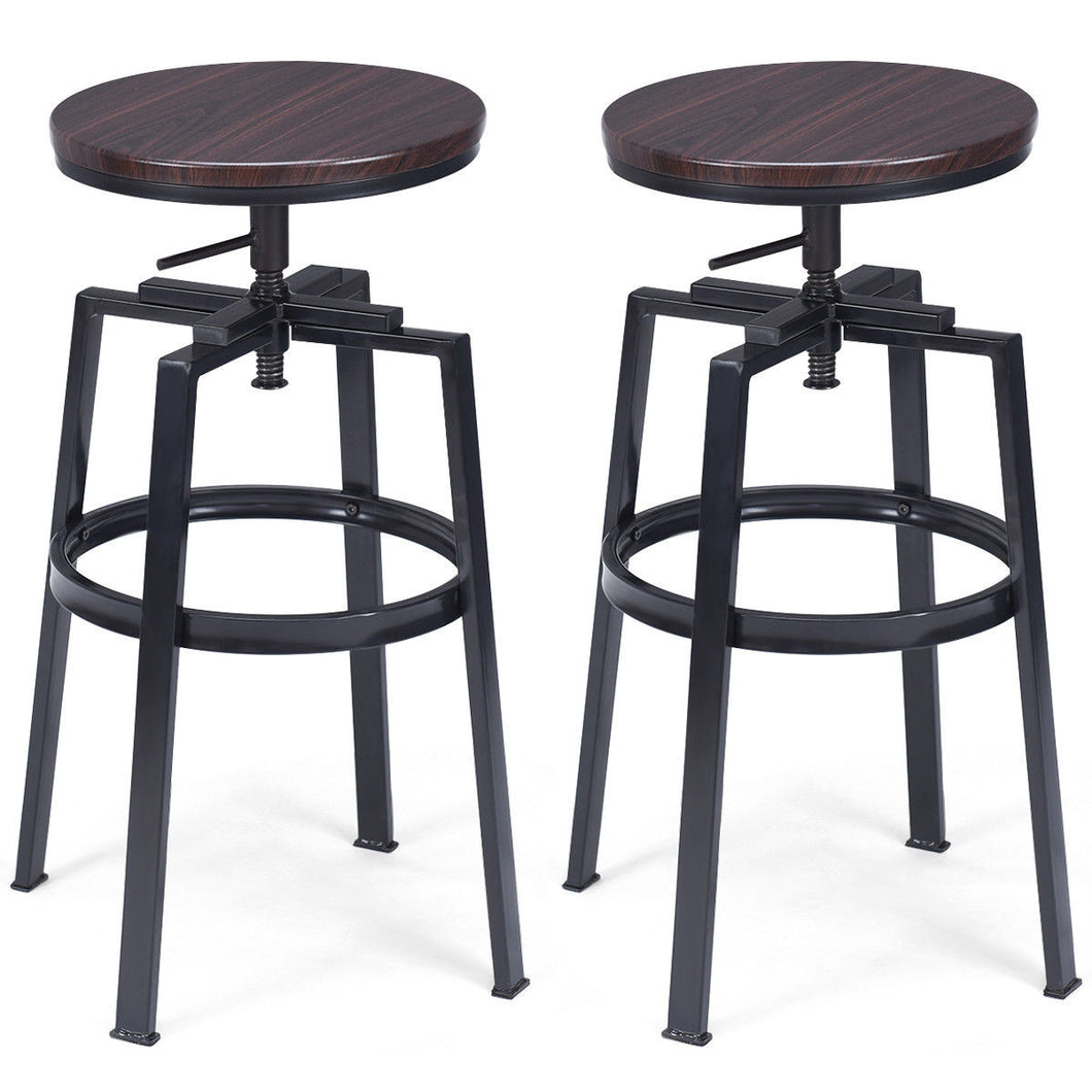 Set of 2 Adjustable Wood Metal Bar Stool