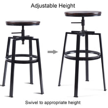 Load image into Gallery viewer, Set of 2 Adjustable Wood Metal Bar Stool