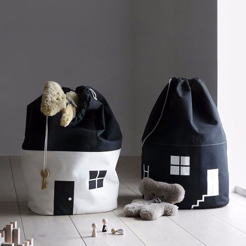 Black + White House Storage Bag