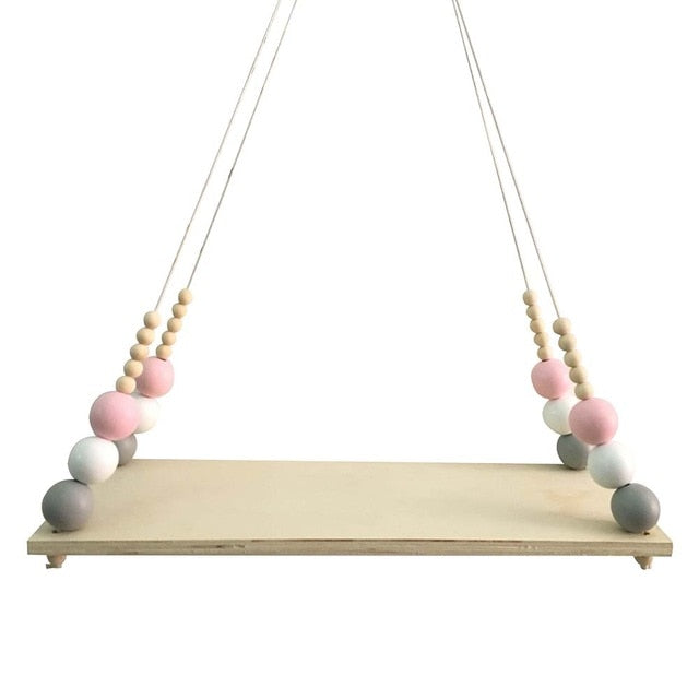 Wooden Beaded Hanging Shelf