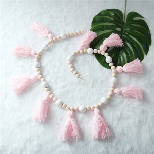 Wooden Beads + Tassel Garland