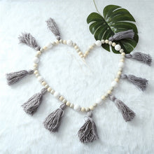 Load image into Gallery viewer, Wooden Beads + Tassel Garland