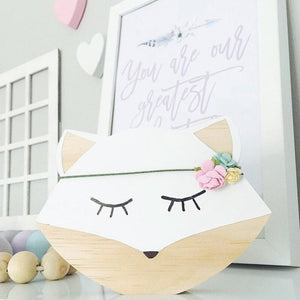 Wooden White Fox Decor