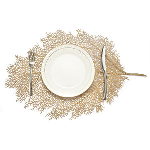 Gold + Silver Lacey Leaf Placemat