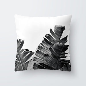 Black + White Plant Leaf Pillows