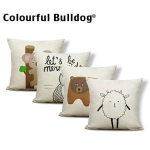 Animal Farmhouse Linen Throw Pillow