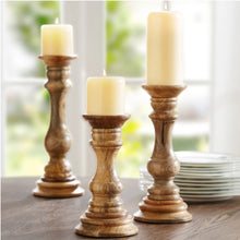 Load image into Gallery viewer, Natural Mango Wood Candle Holders
