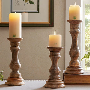 Natural Mango Wood Candle Holders