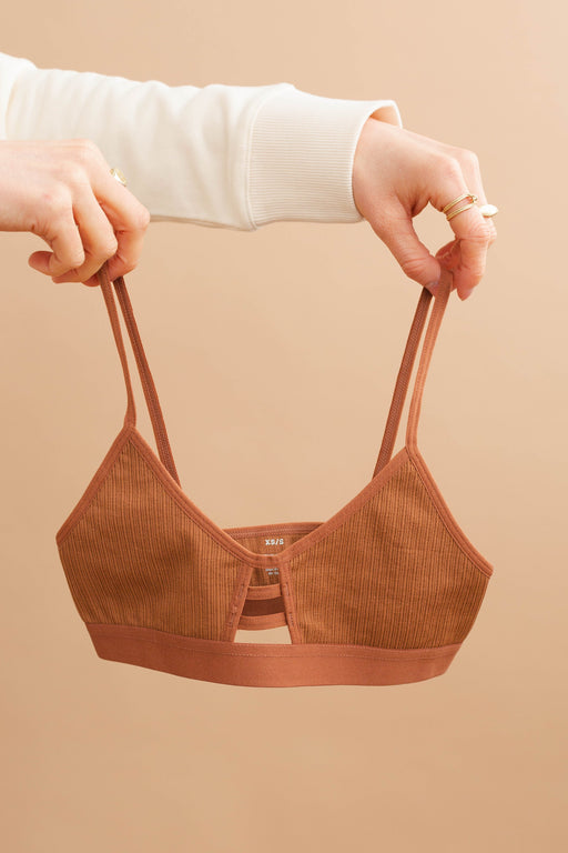Terracotta Ribbed Bralette