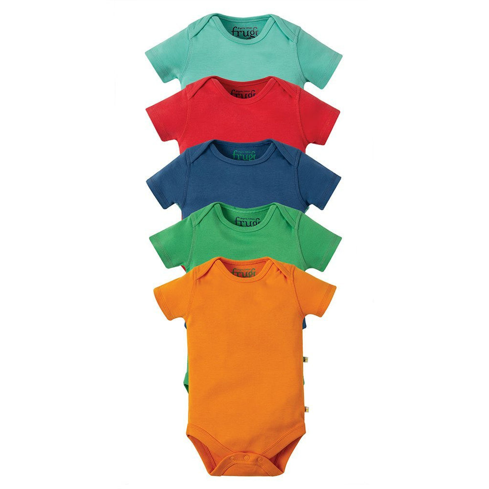 Frugi organic cotton baby bodysuit 5 pack