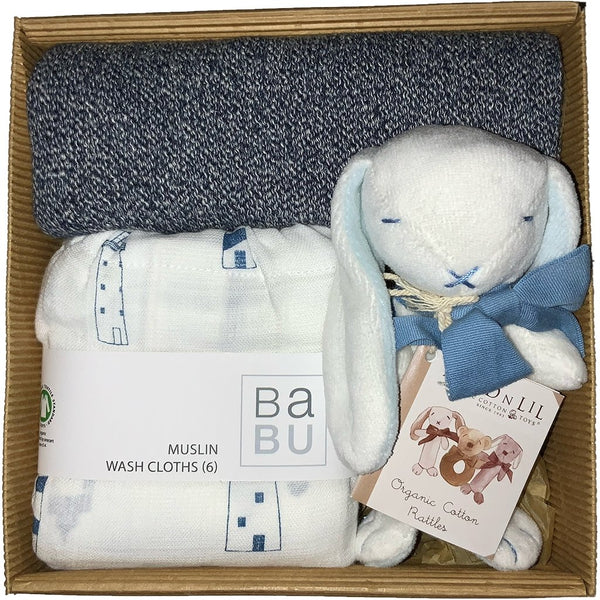 Baby Gift Works organic welcome baby blue gift box
