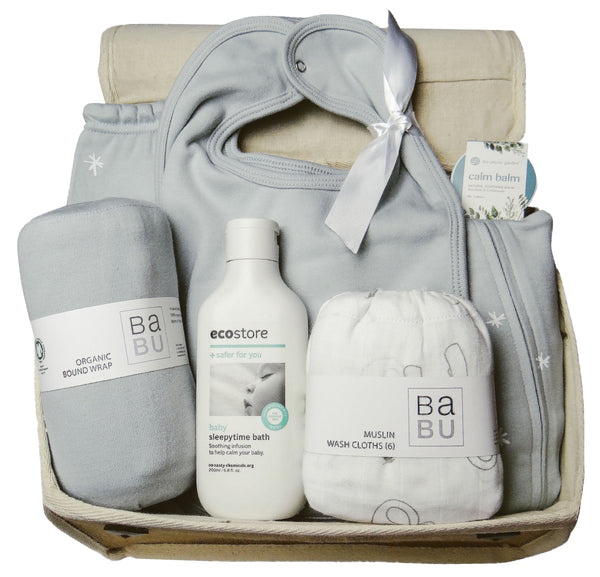 Baby Gift Works organic baby gift hamper blue