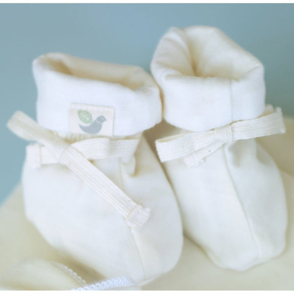 Roots & Wings organic merino booties - natural