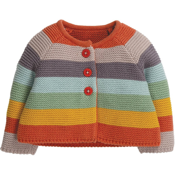 Frugi cute as a button knitted baby cardigan - soft rainbow