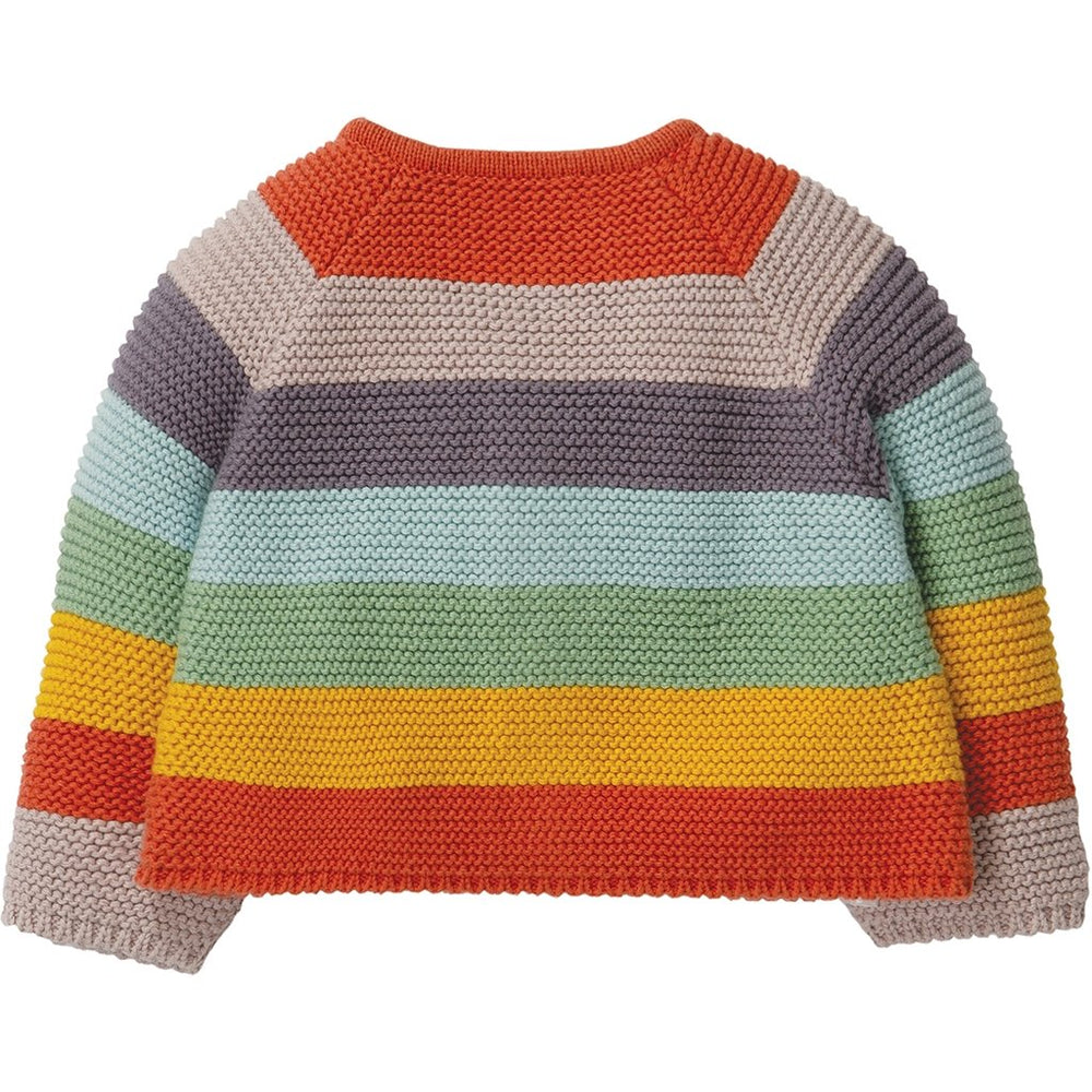Frugi cute as a button knitted baby cardigan - soft rainbow - rear