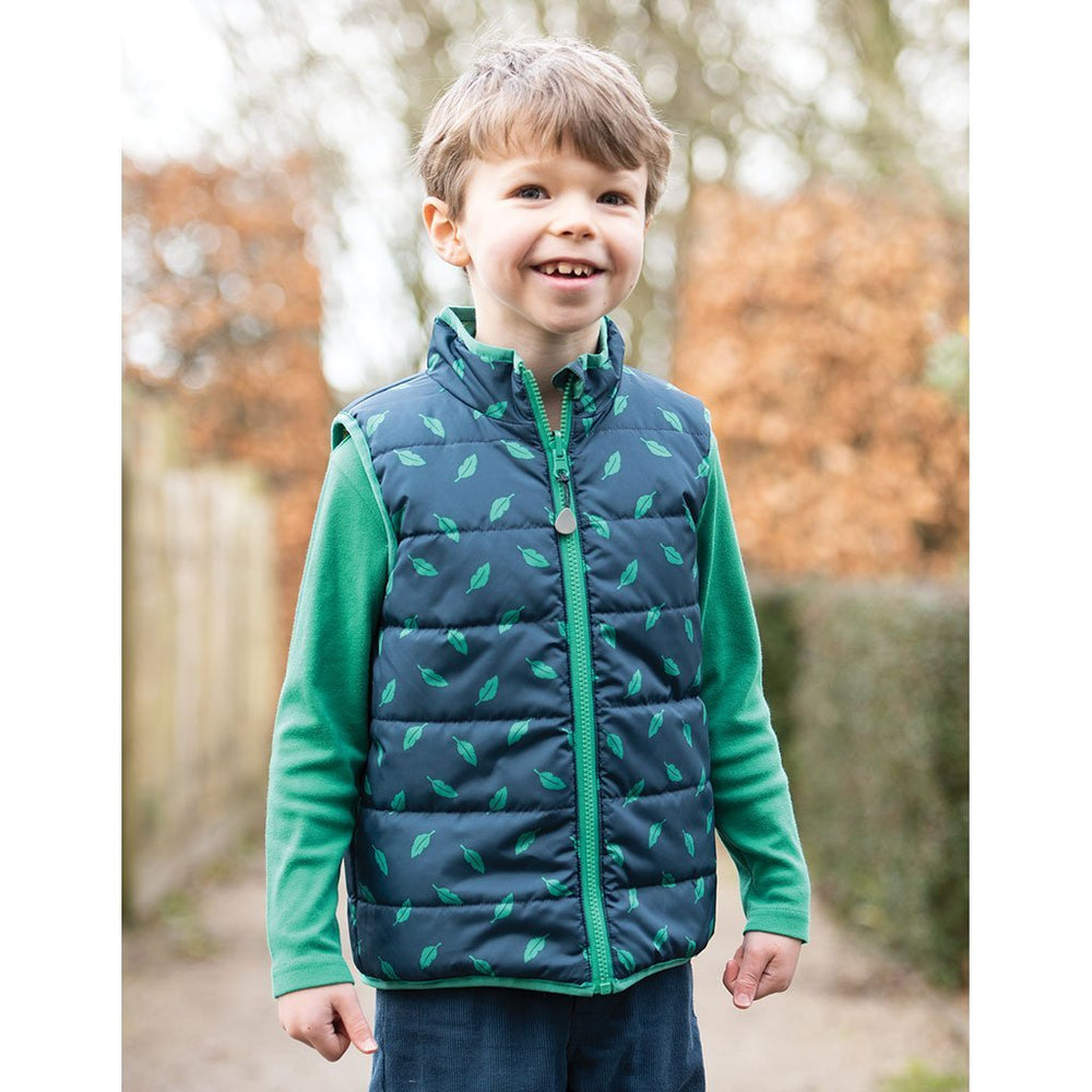 Baby Gift Works - Frugi Giant Dino Field toddler Gilet lifestyle