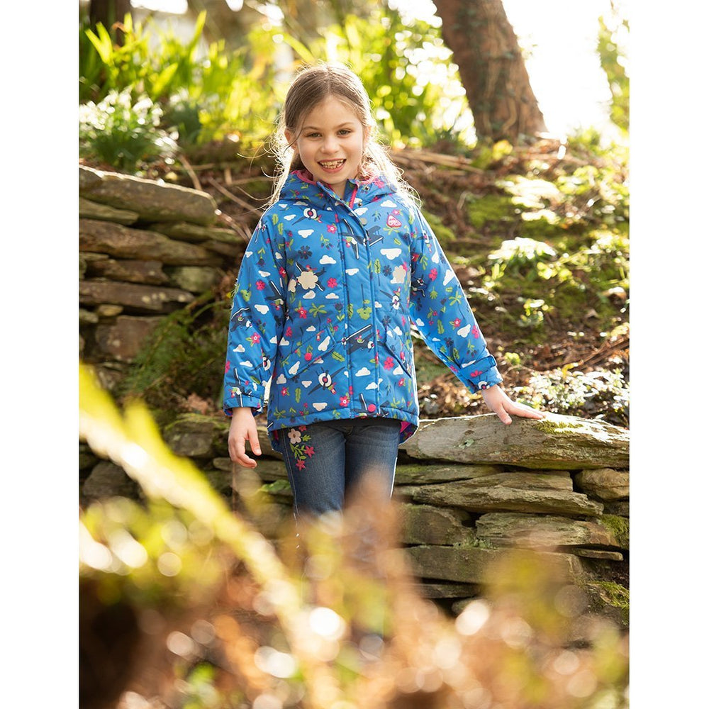 Baby Gift Works - Frugi sail blue fly high waterproof coat lifestyle