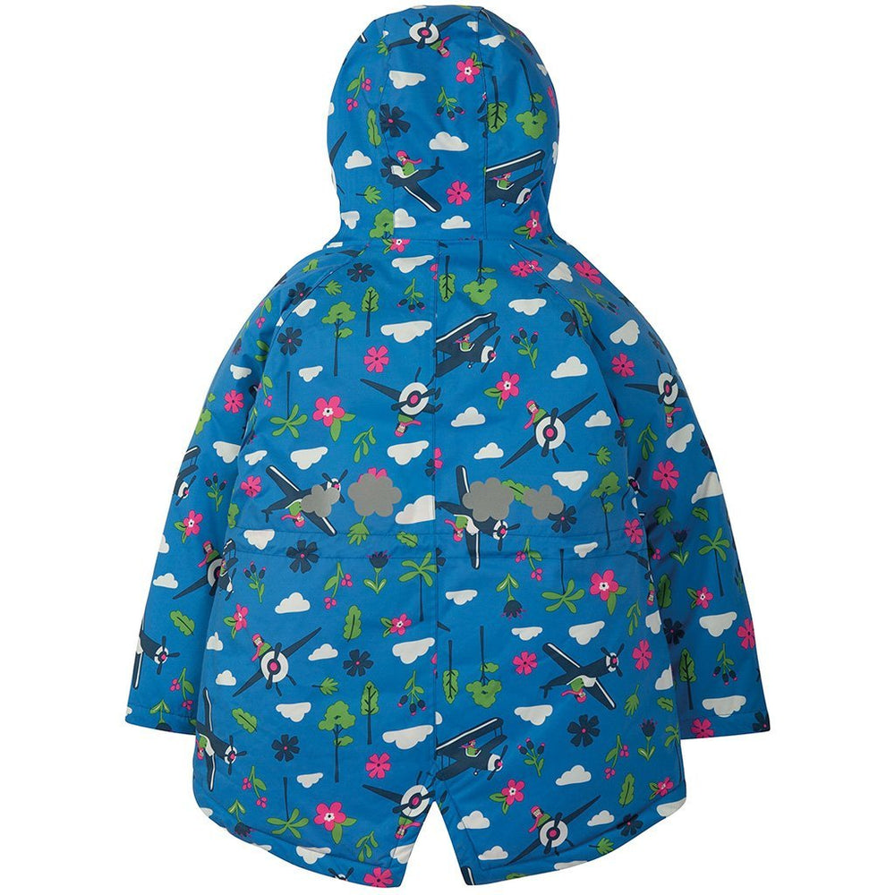 Baby Gift Works - Frugi sail blue fly high waterproof coat rear