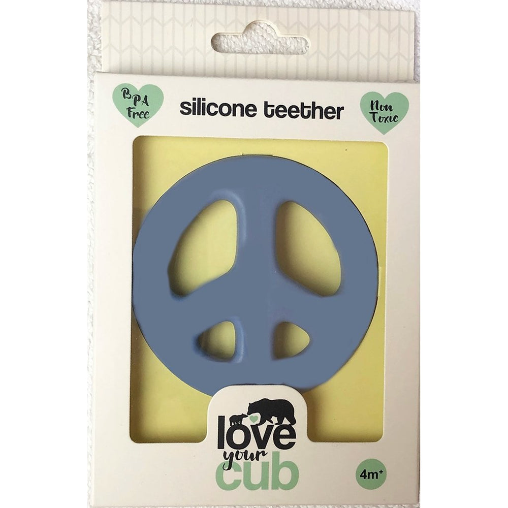 Love your Cub silicone teether - peace symbol blue