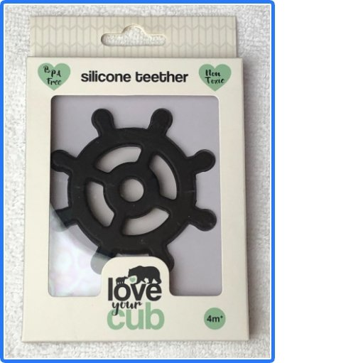 Love your Cub silicone teether - black shipswheel