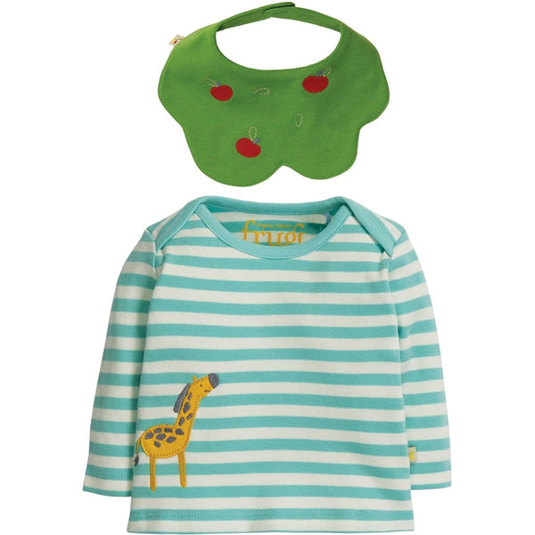 Frugi Tip Top & Bib set - apple tree and giraffe