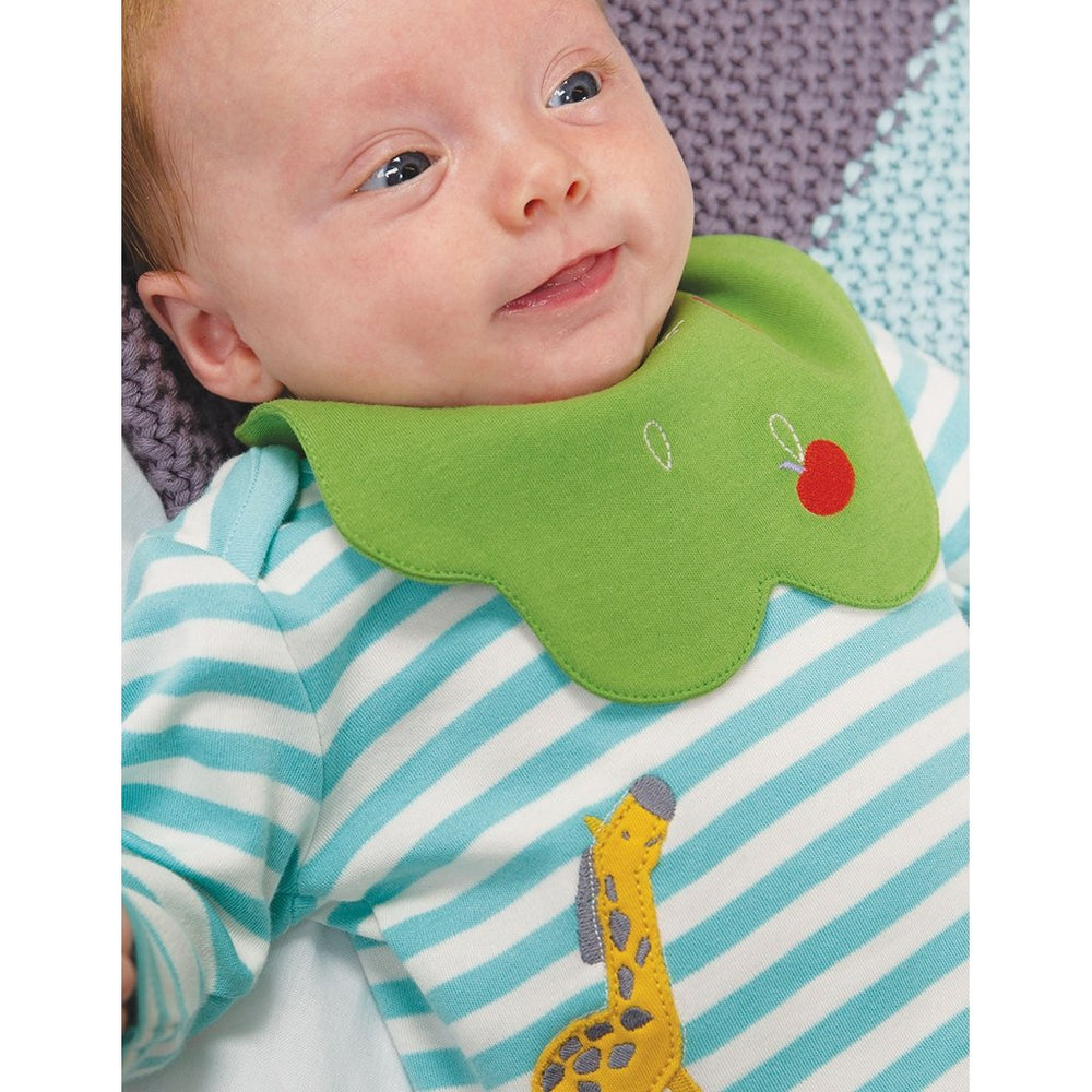 Baby wearing Frugi Tip Top & Bib set