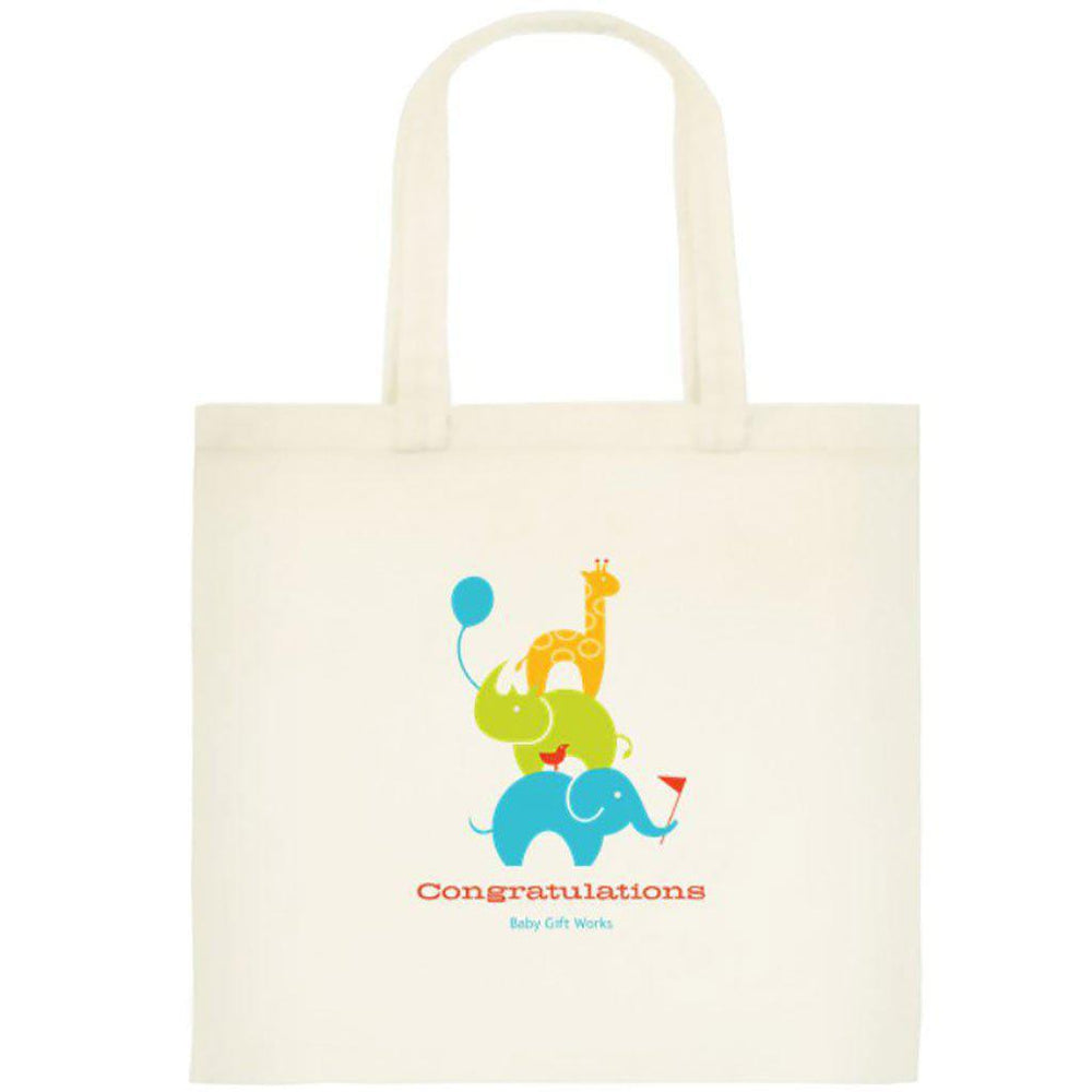 Add a Cotton or Jute Gift Tote Create your own Baby Gift Works Cotton Tote Bag - African Animals