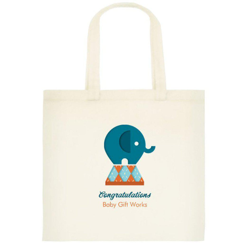 Add a Cotton or Jute Gift Tote Create your own Baby Gift Works Cotton Tote Bag - Blue Elephant