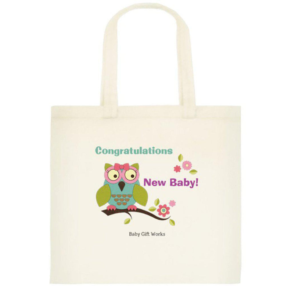 Add a Cotton or Jute Gift Tote Create your own Baby Gift Works Cotton Tote Bag - Owl