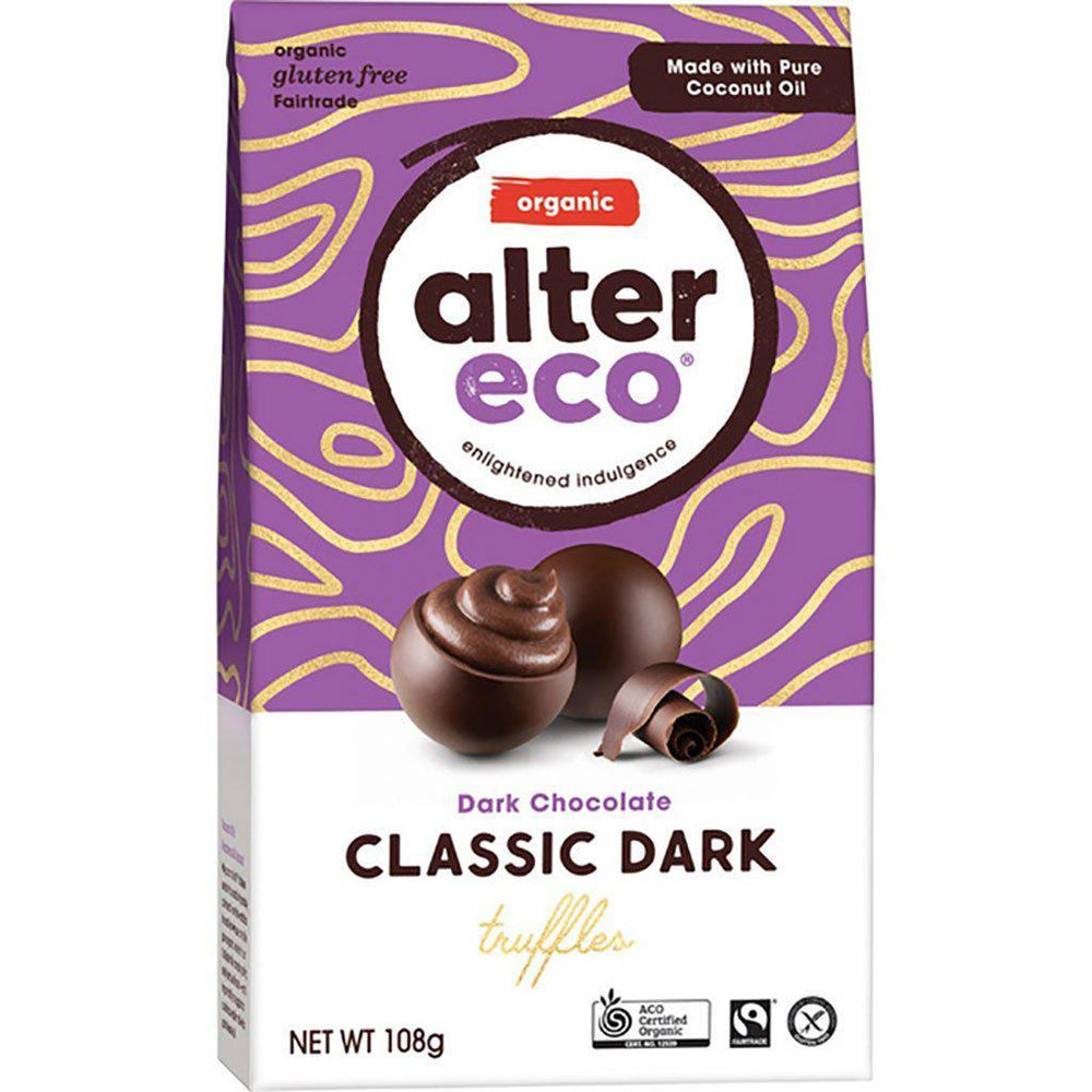 Alter Eco | Organic/Gluten-free/Fairtrade | Dark Chocolate | Classic Dark Truffles | 108g Snacks Alter Eco