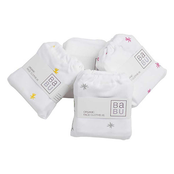 Babu - Organic Cotton - Face Cloth - 4 pack - Choice of 6 designs Wash Cloths Babu Grey Star