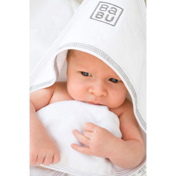 Babu | Organic Cotton | Hooded Terry Baby Towel | Grey or Pink Stitch Towel Babu Grey