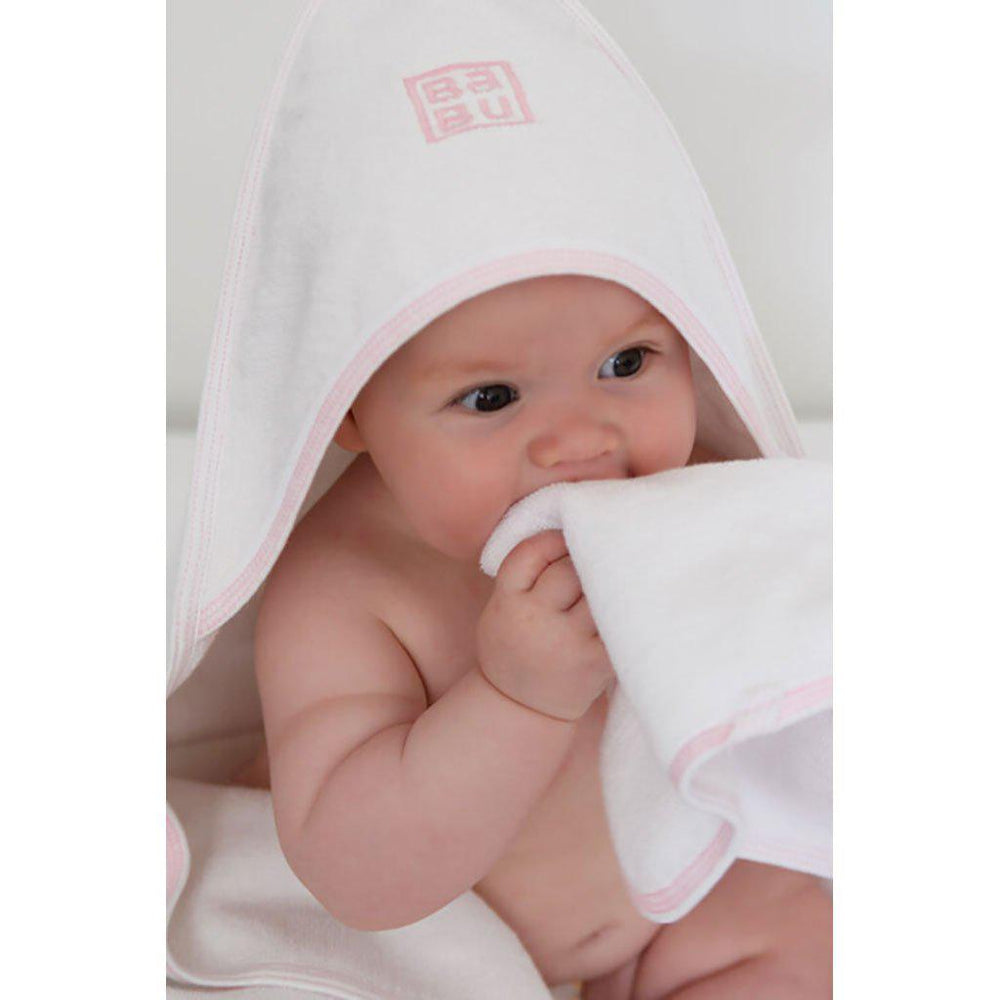 Babu | Organic Cotton | Hooded Terry Baby Towel | Grey or Pink Stitch Towel Babu Pink