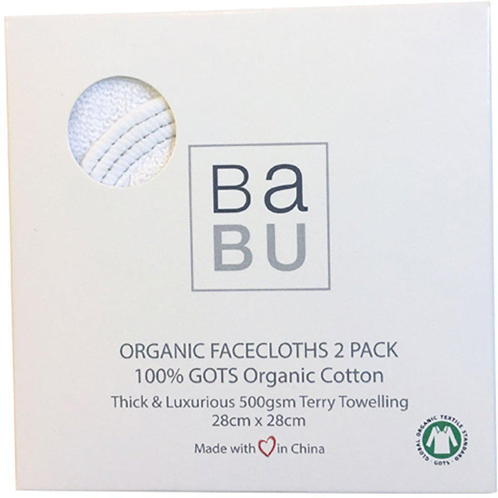 Babu | Thick Luxurious Terry Towelling | Organic Cotton | Facecloths | 2 Pack | Grey Stitch Wash Cloths Babu