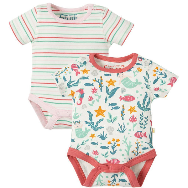 Bailey | Organic Cotton | 2 Pack Bodies | Mermaid Multipack Bodysuit Frugi