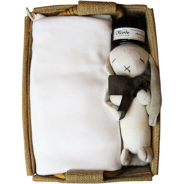 Beautiful Baby | Organic Gift Hamper | Mum & Baby | White Hamper Baby Gift Works