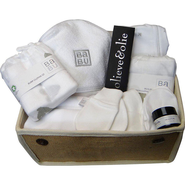 Beautiful Beginnings | Luxury Organic | Mum & Baby Gift Hamper | White Hamper Baby Gift Works