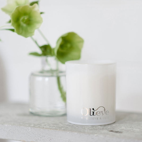 Candle | Glass Jar with Silver Embossed Lid | 60hrs Burn Time | 6 Fragrances Candle Olieve & Olie