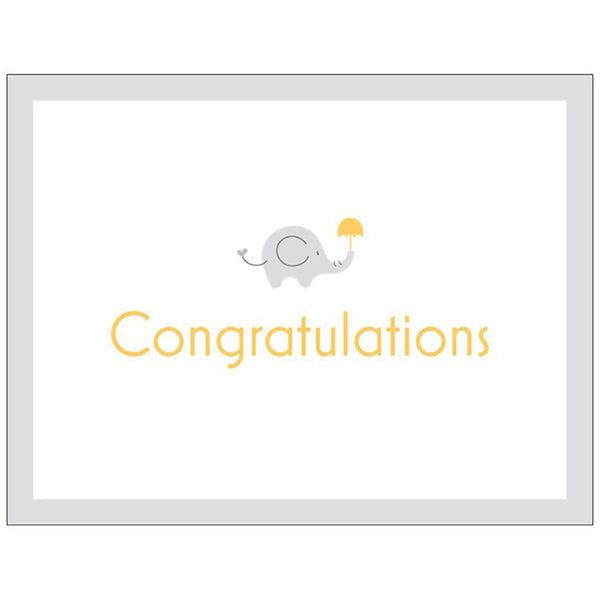 Congratulations | Medium Folded Gift Card | Recycled Matte Paper | Elephant Gift Card Baby Gift Works