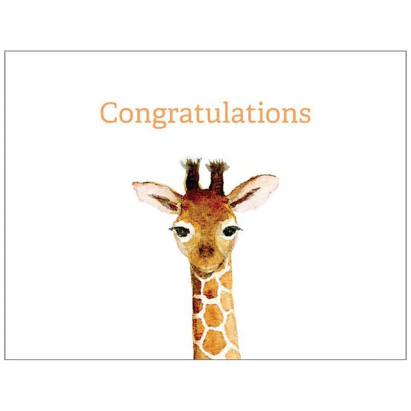 Congratulations | Medium Folded Gift Card | Recycled Matte Paper | Giraffe Gift Card Baby Gift Works