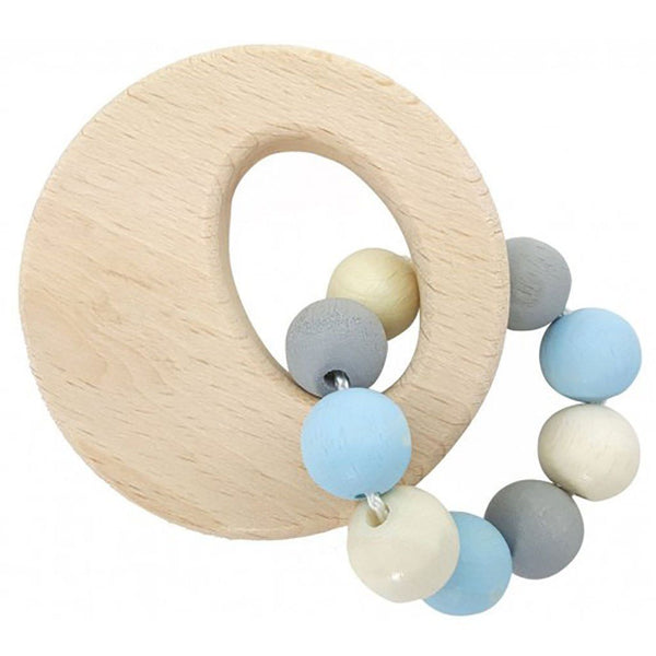 Eco-friendly | Wooden Baby Rattle | Circle | Natural Blue Toy Hess-Spielzeug