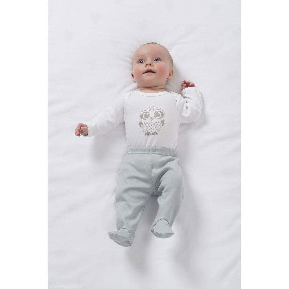 Footed Baby Leggings | Organic Cotton | White or Grey Star Pants Babu